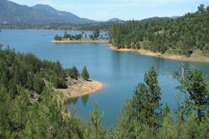 Clikapudi Trail vista: Pit River arm of Shasta Lake near Jones Valley Boat Ramp and Jones Valley Campground.