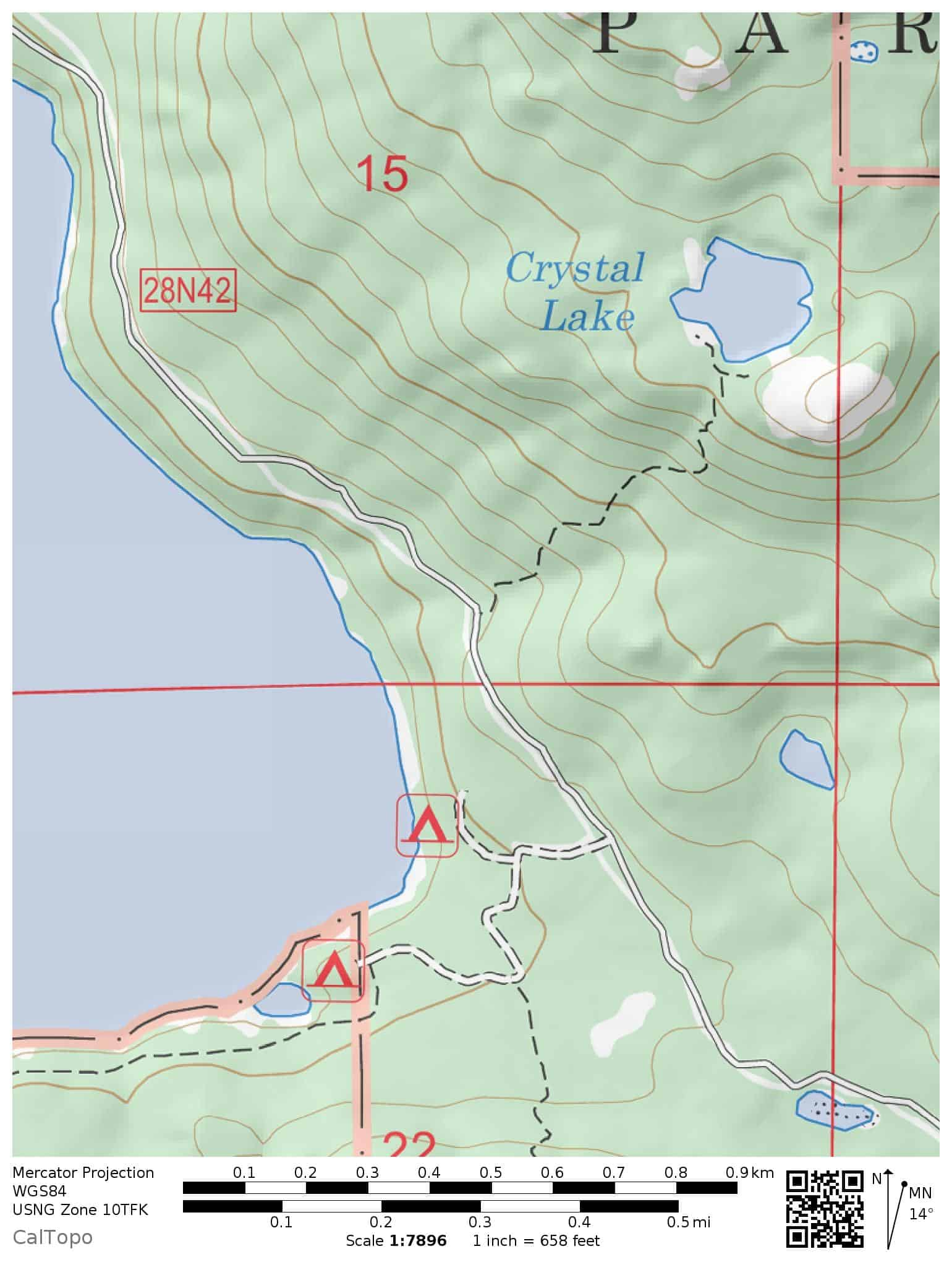 Trail map for hiking to Crystal Lake, which is near Juniper Lake in eastern Lassen Volcanic National Park.