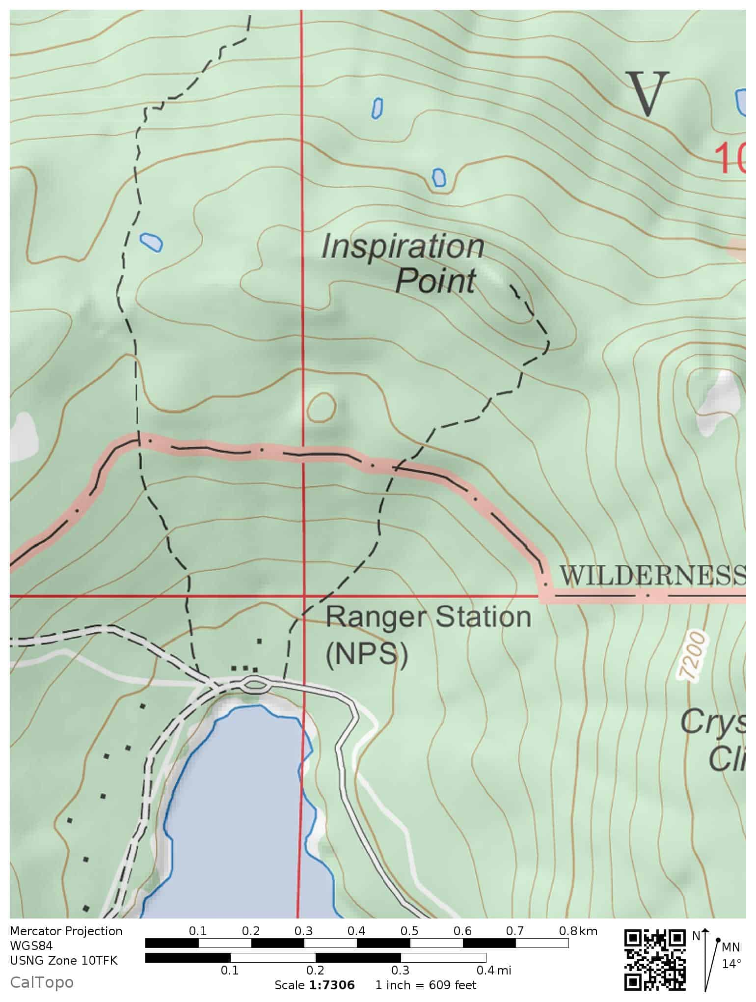 Trail map for hiking to Inspiration Point near Juniper Lake in eastern Lassen Volcanic National Park.