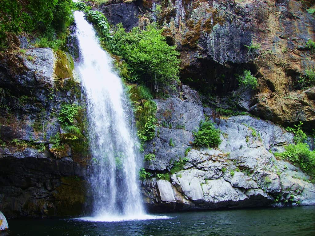 Potem Falls on Potem Creek, which is near the Pit River shortly before it enters Shasta Lake in Shasta Lake National Recreation Area.
