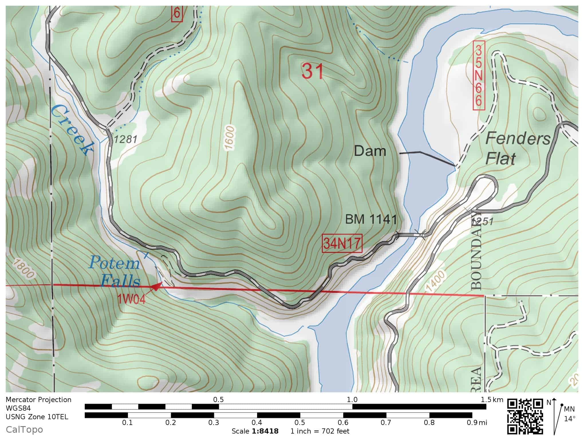 Potem Falls hiking trail map: Potem Creek, Shasta-Trinity National Forest near Shasta Lake National Recreation Area. Includes Pit River and Fenders Flat.