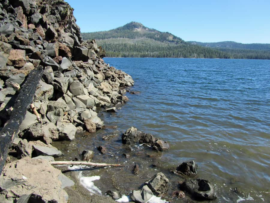Snag Lake in Lassen Volcanic National Park is a popular backpacking and day hiking destination accessed by several trails.