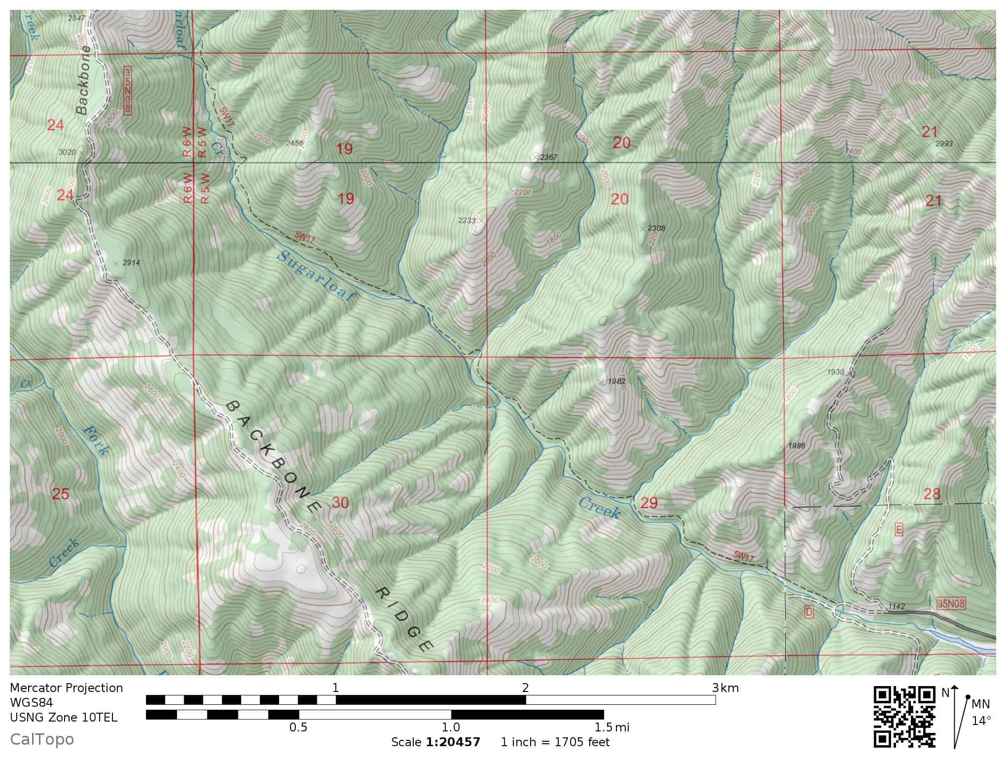 Topographic map of the Sugarloaf Creek Trail near Shasta Lake: for hikers and explorers. Includes Backbone Ridge.