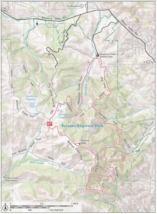 Briones Peak loop trail map for hikers. This hike in Briones Regional Park includes the Spengler Trail, Briones Crest Trail, Alhambra Creek Trail, and Diablo View Trail.