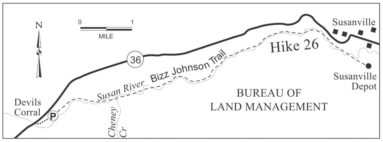 Bizz Johnson National Recreation Hiking/Biking Trail Map, Devils Corral to Susanville railroad depot. This section of the Bizz Johnson Trail runs near the Susan River in Susan River canyon near Highway 36.