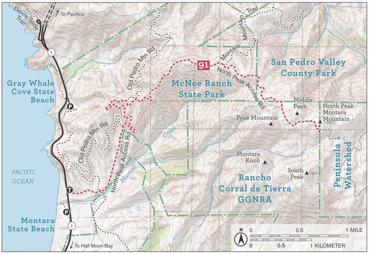 Hiking trail map of Montara Mountain, with North Peak, near Montara State Beach. Includes North Peak Access Road, Montara Mountain Trail, Old Pedro Mountain Road, and Martini Creek.