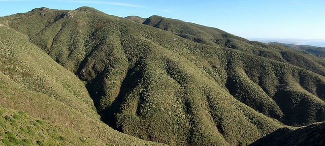 Vista of Montara Mountain, including North Peak. One of the San Francisco Bay Area's more challenging hiking trails accessible from Highway 1.