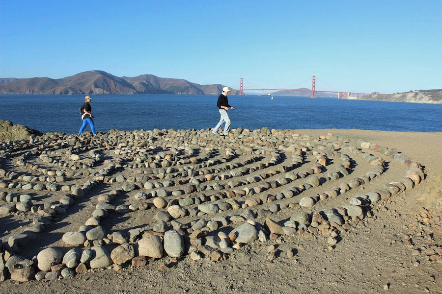 San Francisco's Lands End Trail, part of the California Coastal Trail, passes this cool labyrinth with great views of the Golden Gate Bridge and Marin County.