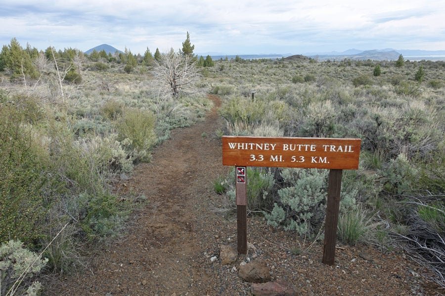 The Whitney Butte Trail is an easy overnight backpacking trip in Lava Beds National Monument in the northeastern corner of Northern California.