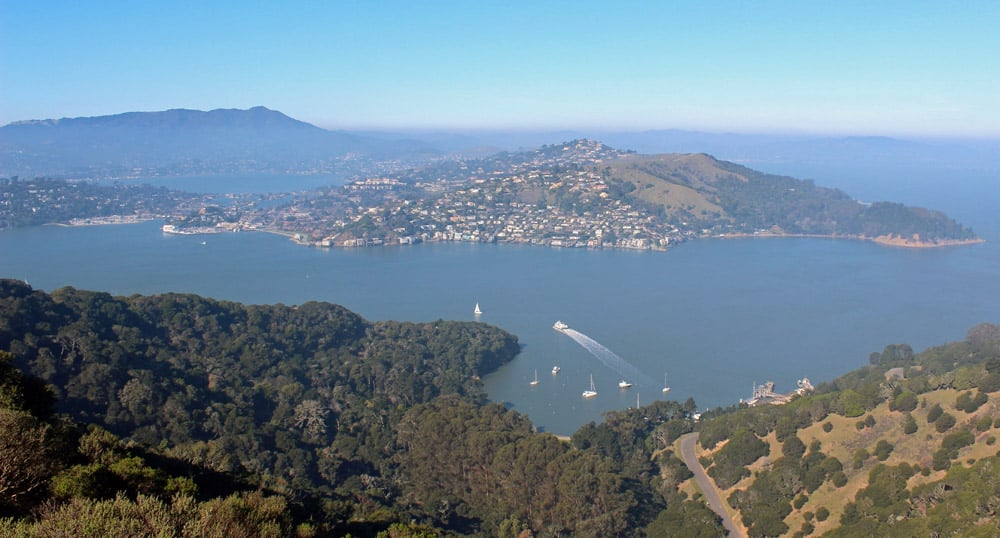 Hiking to the top of Angel Island's Mount Livermore gives great views, including Marin County.