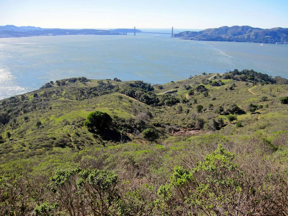You'll frequently see the Golden Gate Bridge when hiking Angel Island trails.