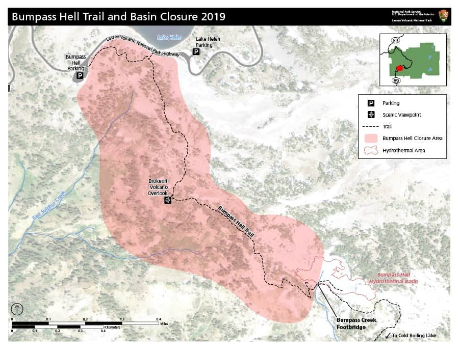 The map shows the 2019 closure of the Bumpass Hell Trail in Lassen Volcanic National Park. Bumpass Hell can be accessed from Kings Creek Picnic Area via Crumbaugh Lake and Cold Boiling Lake.