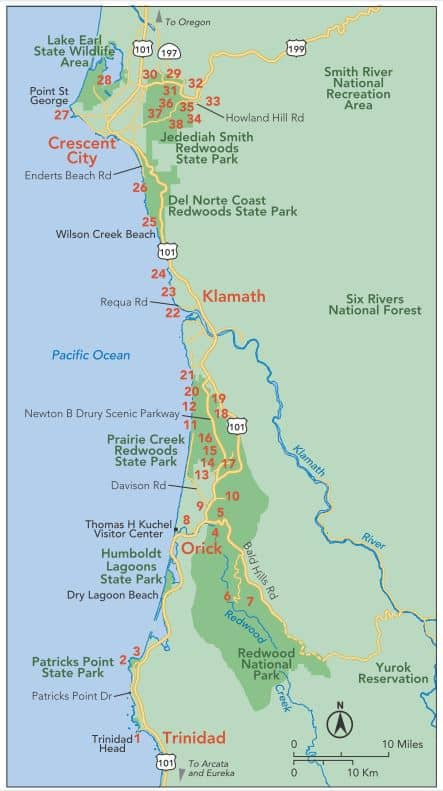 "Map for guidebook ""Hike the Parks: Redwood National & State Parks"" showing hiking trails in Jedediah Smith Redwoods State Park, Prairie Creek Redwoods State Park, Redwood National Park, and more."