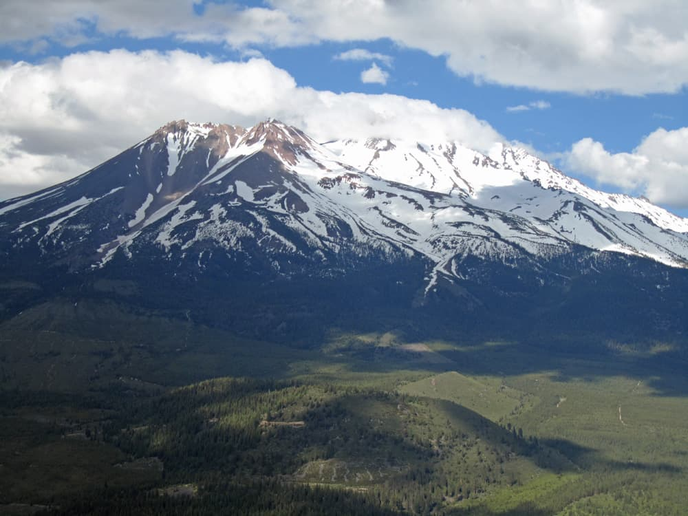 View of Mount Shasta from Black Butte's summit at the end of the hiking trail.