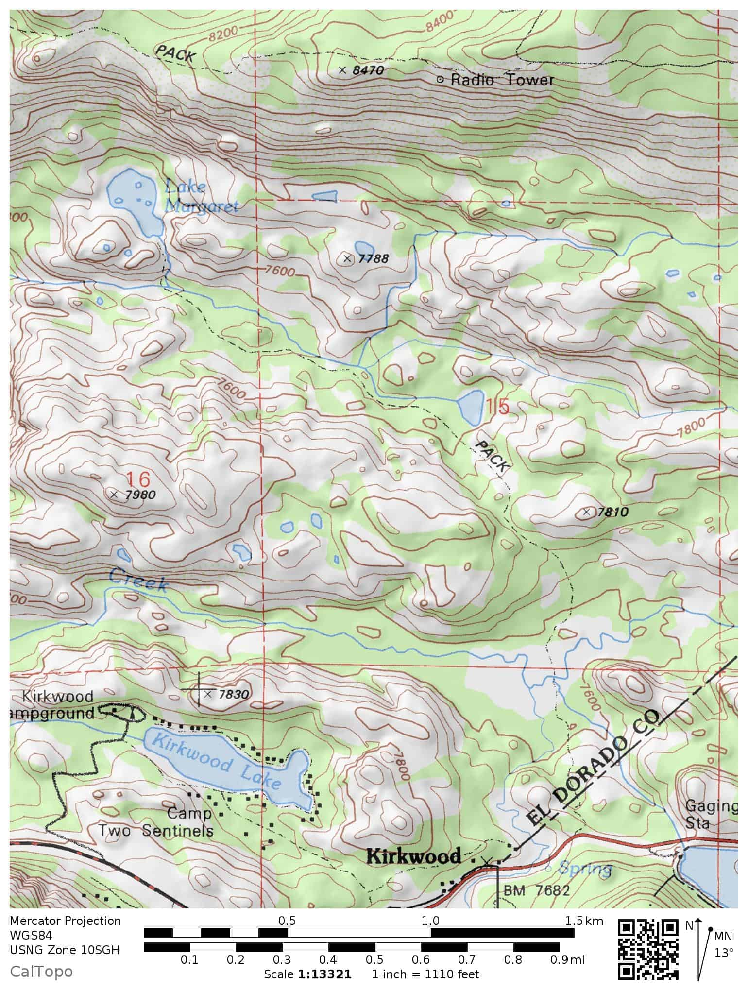 Topographic map of the Lake Margaret Trail in the Amador Ranger District, Eldorado National Forest, near Caples Lake and Highway 88.