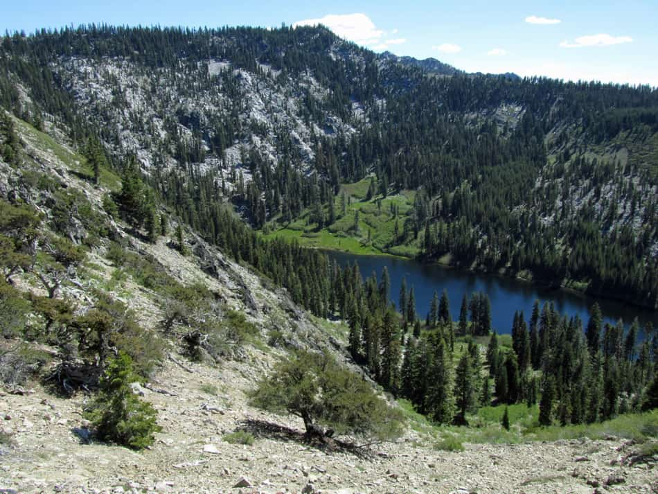 Taylor Lake in the Russian Wilderness, with a view of the Hogan Lake Trail beyond.