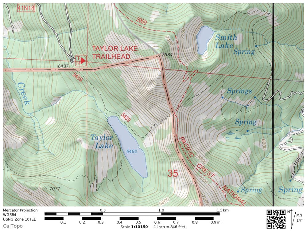 Taylor Lake Trail Map, Russian Wilderness. Includes the Taylor Lake trailhead in Klamath National Forest.