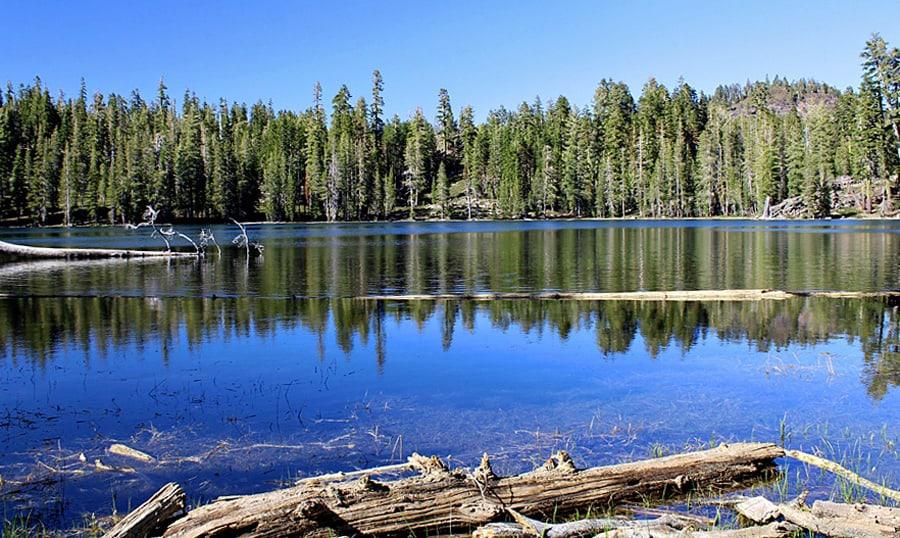 Crystal Lake lies above Juniper Lake in Lassen Volcanic National Park.