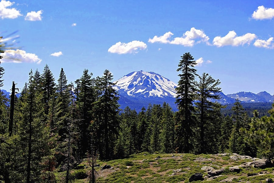 Inspiration Point above Juniper Lake in Lassen Volcanic National Park. View of distant Lassen Peak.