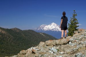 Many views of Mount Shasta along the Pacific Crest Trail on the hike to Seven Lakes Basin.