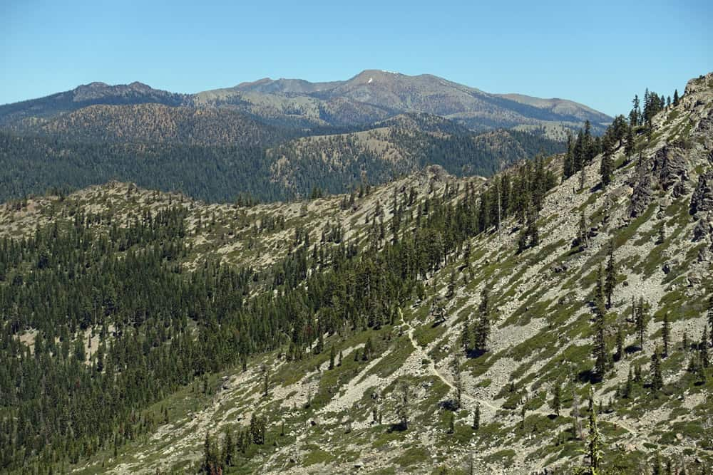 Pacific Crest Trail and Mount Eddy, Trinity Divide. Shot from Tri County Peak above Seven Lakes Basin, Shasta-Trinity National Forest.