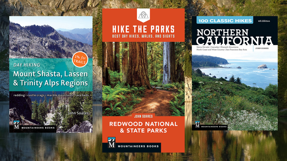 Northern California hiking guidebooks by John Soares. Day Hiking Mount Shasta, Lassen, & Trinity Alps Regions; Hike the Parks: Redwood National & State Parks; 100 Classic Hikes: Northern California.