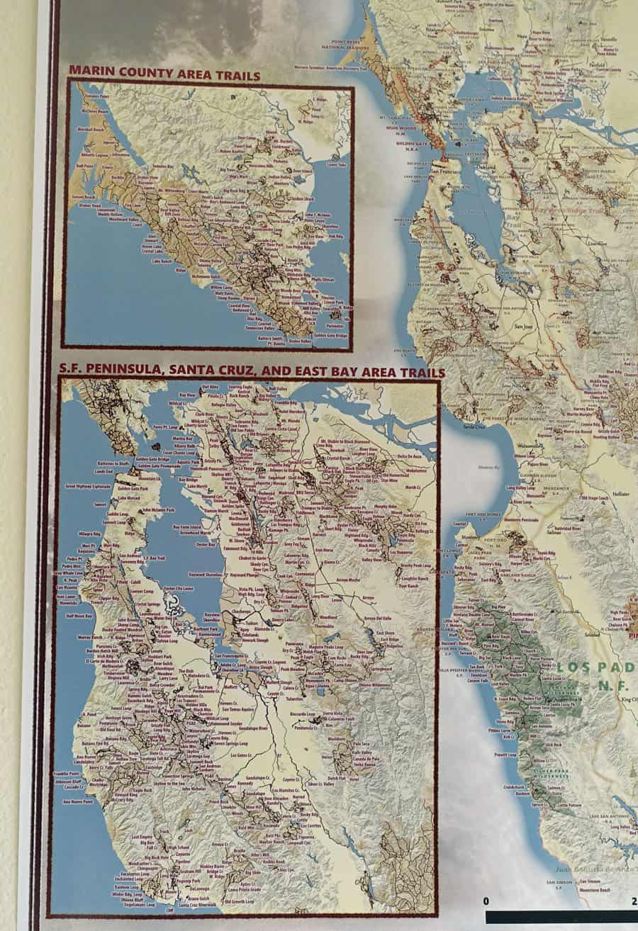 California Hiking Map review: Marin County and San Francisco Bay Area. Shows all the hiking trails on public lands in these regions.