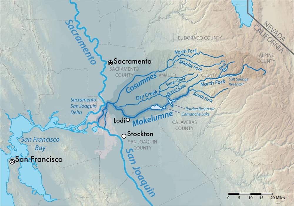 Map showing Cosumnes River and Mokelumne River flowing into the San Joaquin River.