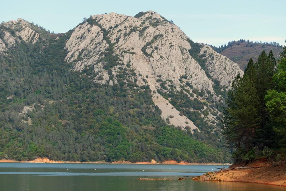 Limestone mountains on the east side of the McCloud Arm of Shasta Lake, viewed from the Bailey Cove Trail.