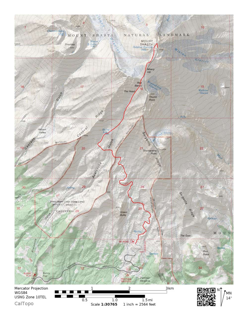 Map: climbing route from Old Ski Bowl past Green Butte to Avalanche Gulch, Helen Lake, Red Banks to the summit of Mount Shasta.