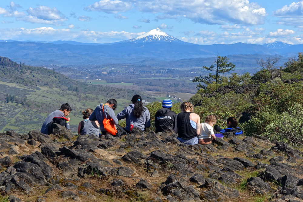 A group of hikers not practicing social distancing during the coronavirus pandemic: Lower Table Rocks Trail, Southern Oregon, near Central Point.