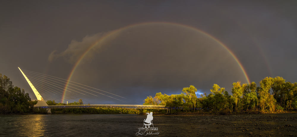 Redding's Sundial Bridge at Turtle Bay: sunset with rainbow. A beautiful place to walk!