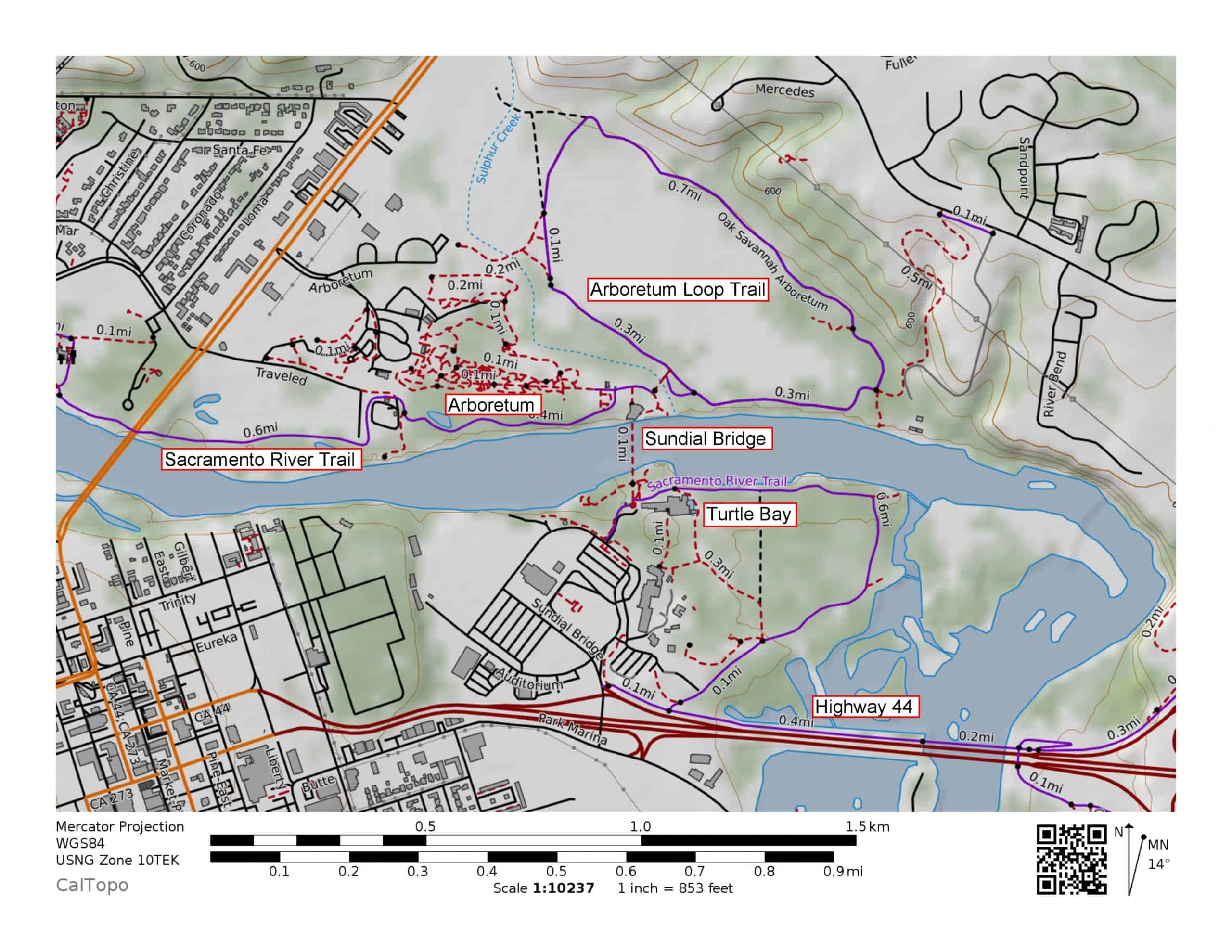 Hiking and walking trail map of Turtle Bay: Sundial Bridge, Sacramento River Trail, Arboretum Loop Trail, McConnell Arboretum and Botanical Gardens.