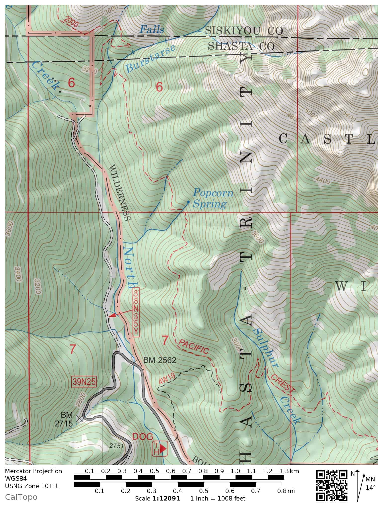 Topographic trail map to Burstarse Fall via the Pacific Crest Trail. Includes the Dog Trail and trailhead.