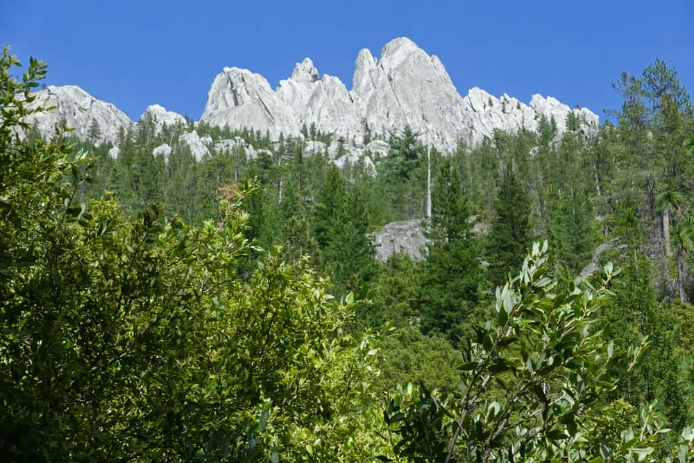 Castle Crags viewed from the Pacific Crest Trail near Burstarse Falls. Views of the Crags get better the closer you get to the falls.