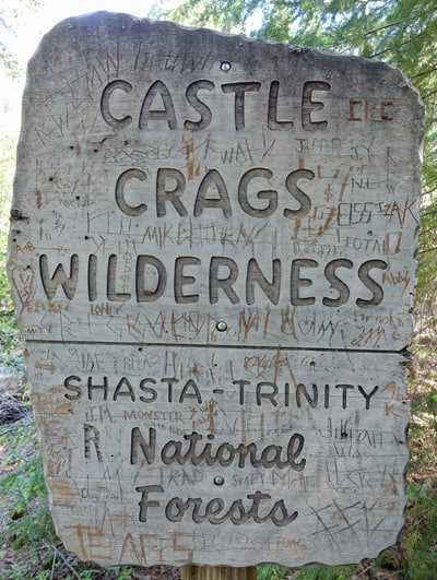 Castle Crags Wilderness Sign on the Dog Trail on the way to the Pacific Crest Trail and Burstarse Falls.