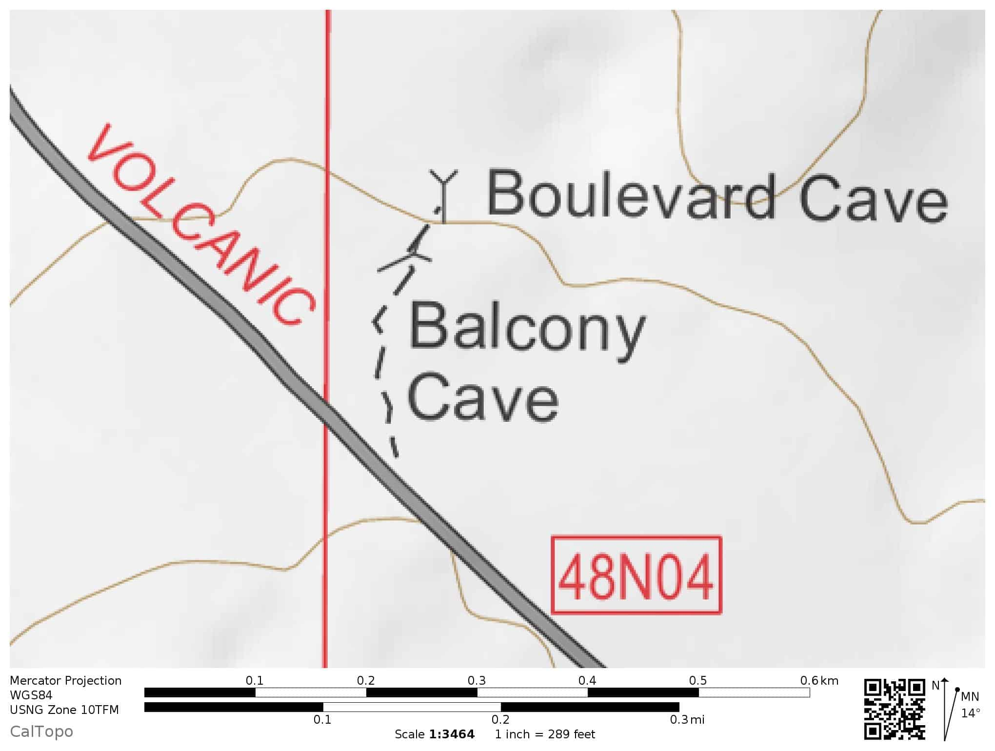 Trail Map: Balcony Cave, Boulevard Cave, Lava Beds National Monument. The short hiking trail leaves from Lava Beds National Monument Road.