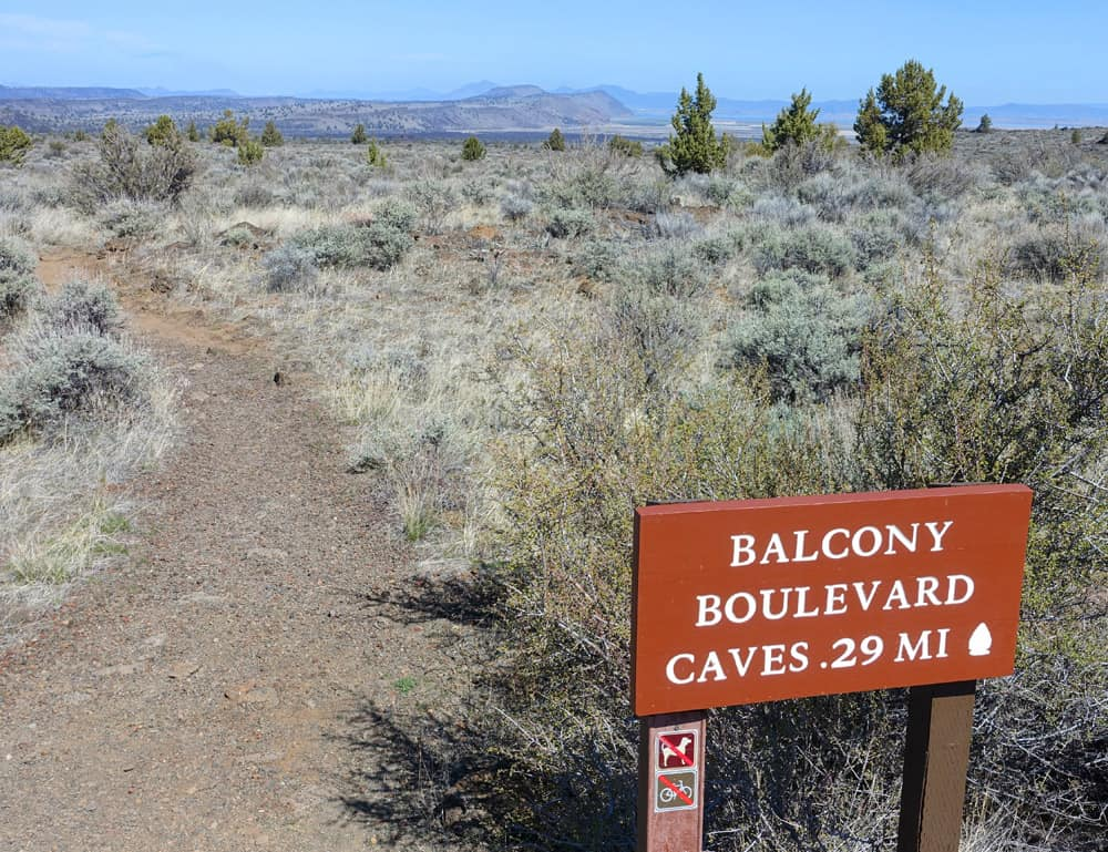Starting the hiking trail to Balcony Cave and Boulevard Cave in Lava Beds National Monument. View looking north.