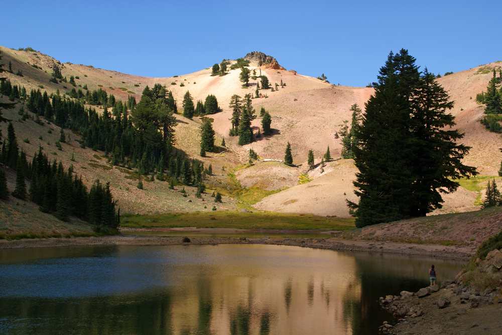 Ridge Lakes in Lassen Volcanic National Park, at the end of the hiking trail. Cross-country hiking to the ridge beyond is fairly easy.