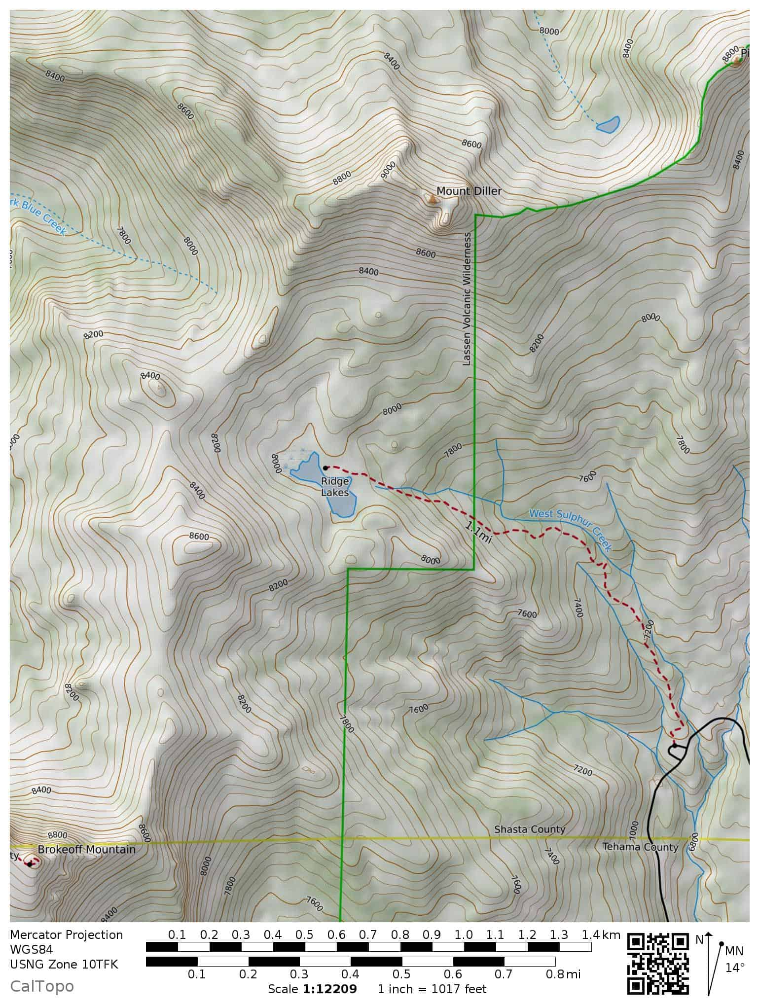 Ridge Lakes Trail Map, Lassen Volcanic National Park, with trailhead, Sulphur Works, Brokeoff Peak, Mount Diller