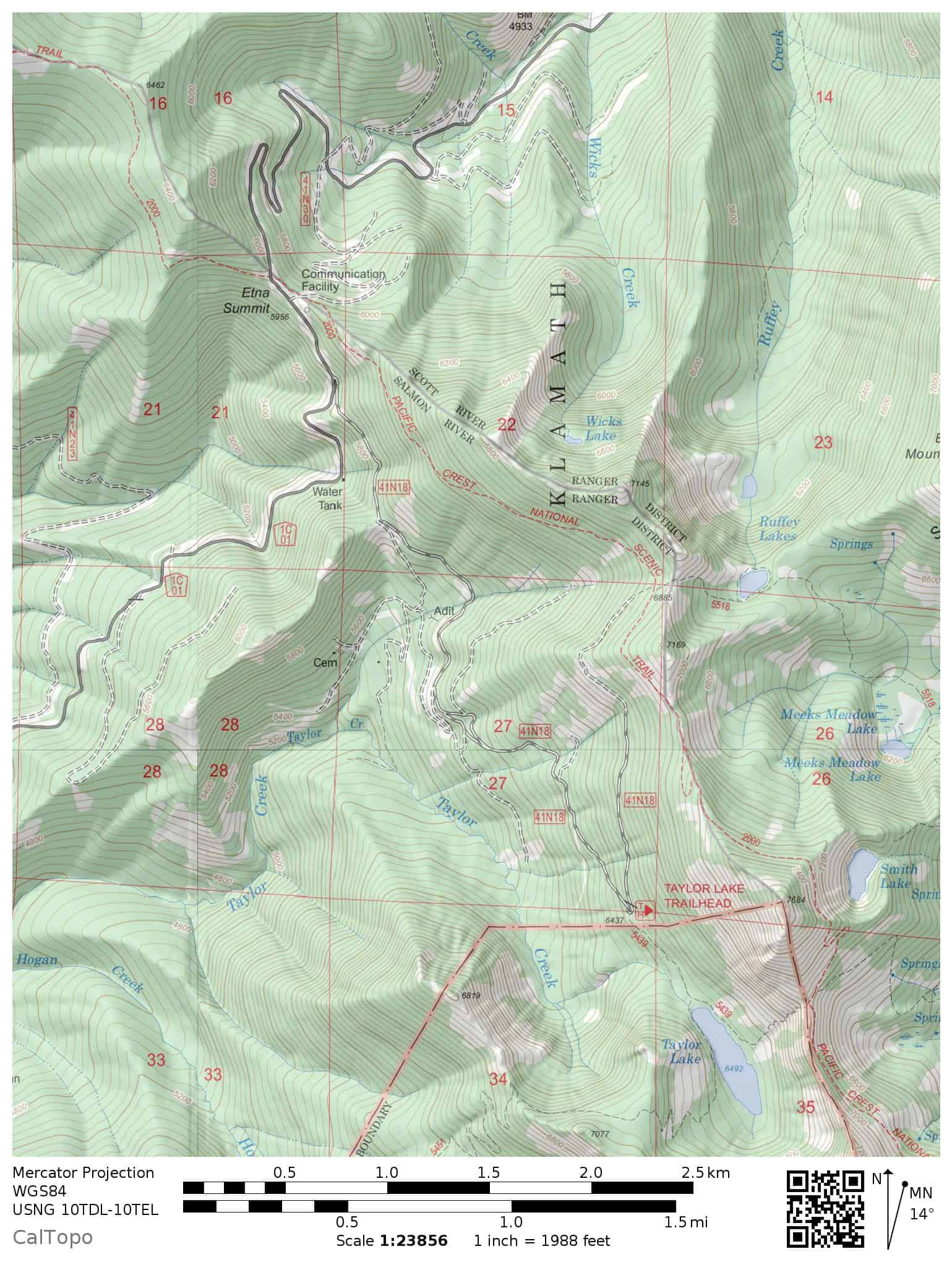 This map shows Etna Summit, Sawyers Bar Road, the Pacific Crest Trail, plus trails and lakes in the nearby Russian Wilderness and Klamath National Forest.