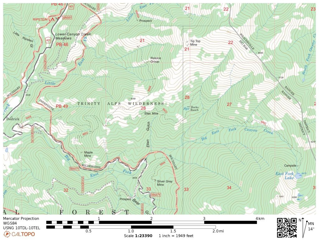 Trinity Alps: East Fork Lakes Trail Map. Helps visualize where the black bear attack occurred.