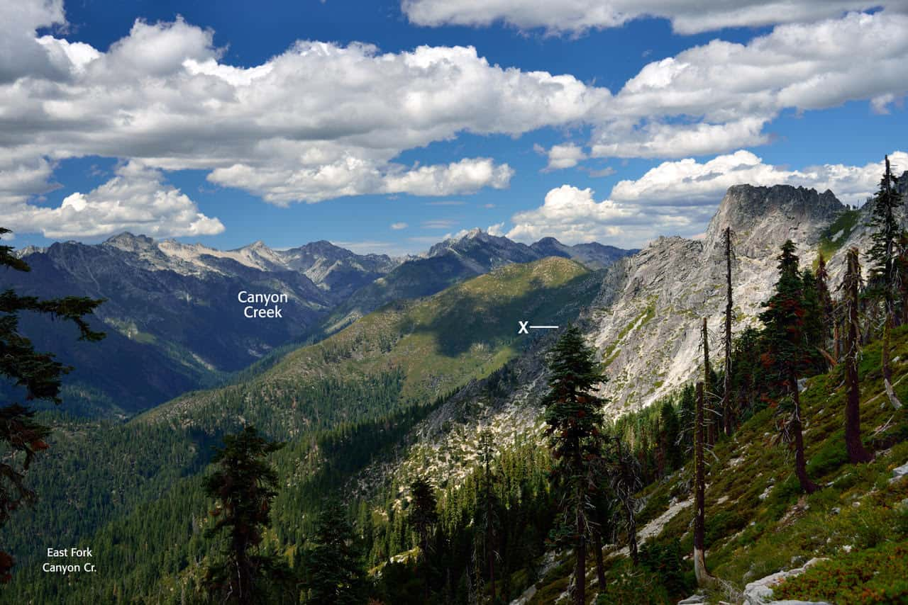 Where the black bear attack occurred on the East Fork Lake Trail near Canyon Creek in the Trinity Alps.
