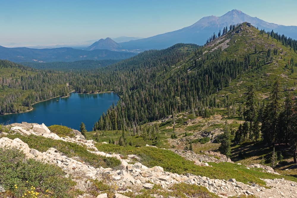Castle Lake and Mount Shasta from near Heart Lake: one of the highlights of hiking the trail!