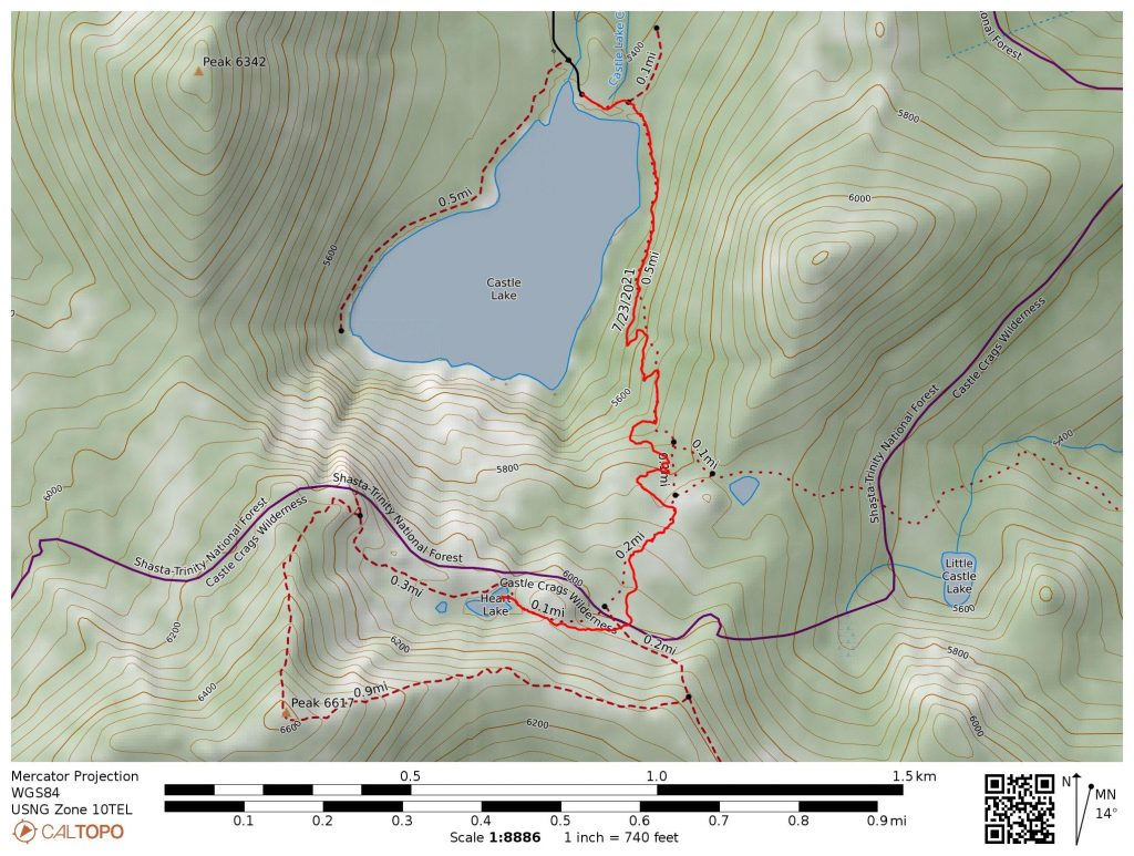 Heart Lake Trail Map: created from GPS track from Castle Lake. Shows all the new 2021 rerouted trail segments.