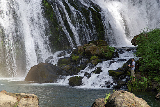 Fishing at Middle McCloud Falls near Mount Shasta in Northern California